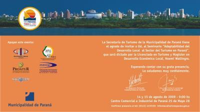 """Seminario 14 y 15 de Agosto 2009 """" Adaptabilidad del Desarrollo Local al sector Turismo en Paraná"""""""